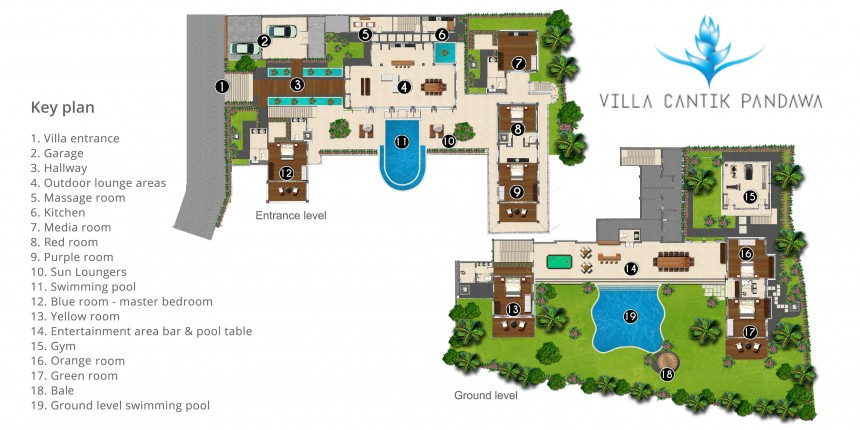 Rent villa cantik in bukit from bali luxury villas for Swimming pool site plan